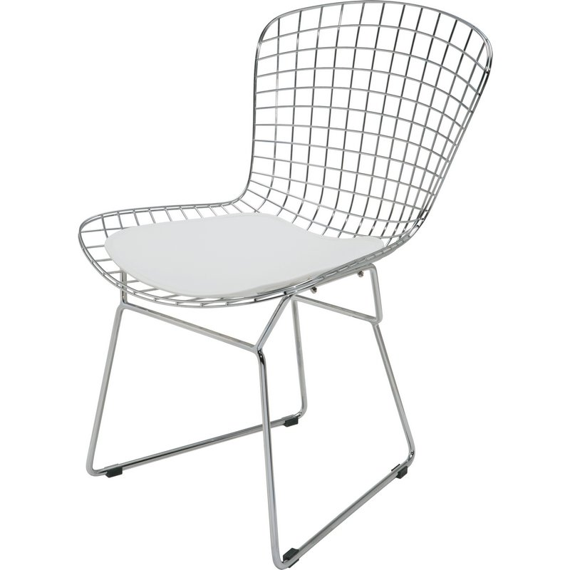 Excellent Wire Dining Or Accent Chair In Chrome W White Cushion By Nuevo Modern Furniture Creativecarmelina Interior Chair Design Creativecarmelinacom