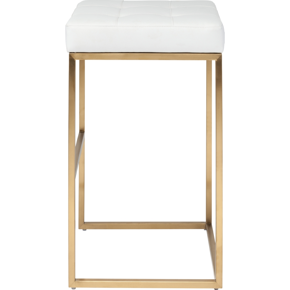 chi bar stool in brushed gold stainless w white cushion