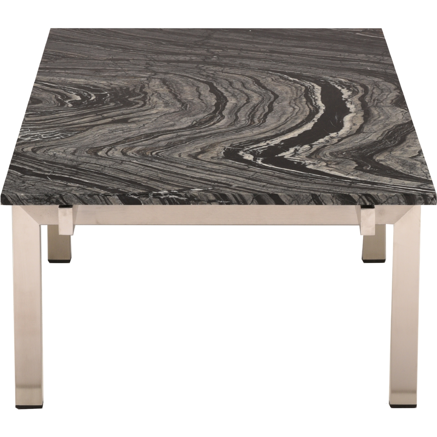 Nuevo Modern Furniture Louve Coffee Table W Black Marble Top On Brushed Silver Stainless Legs