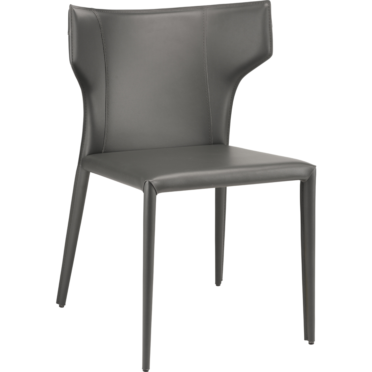 Wayne Dining Chair In Dark Grey Leather W/ Wing Back (Set Of 4)