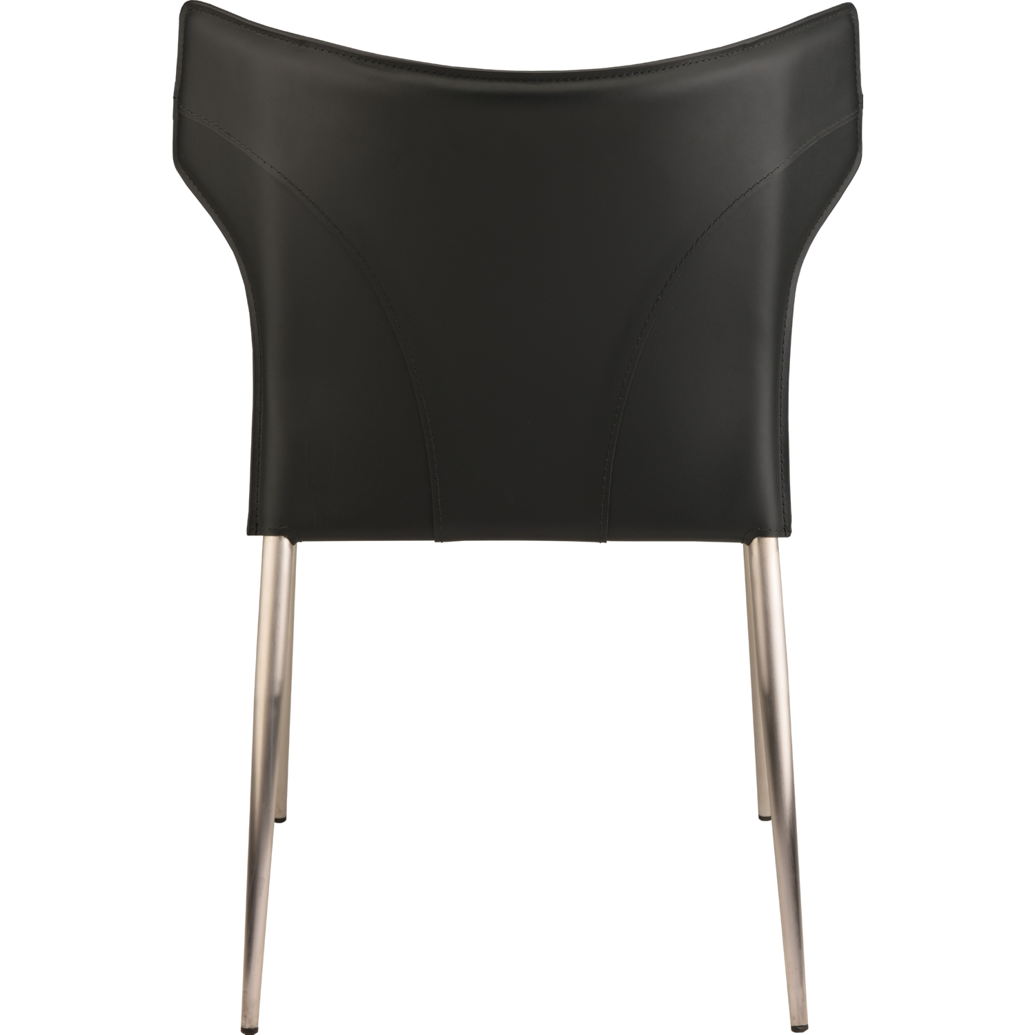 Wayne Dining Chair In Black Leather On Brushed Stainless Legs (Set Of 4)