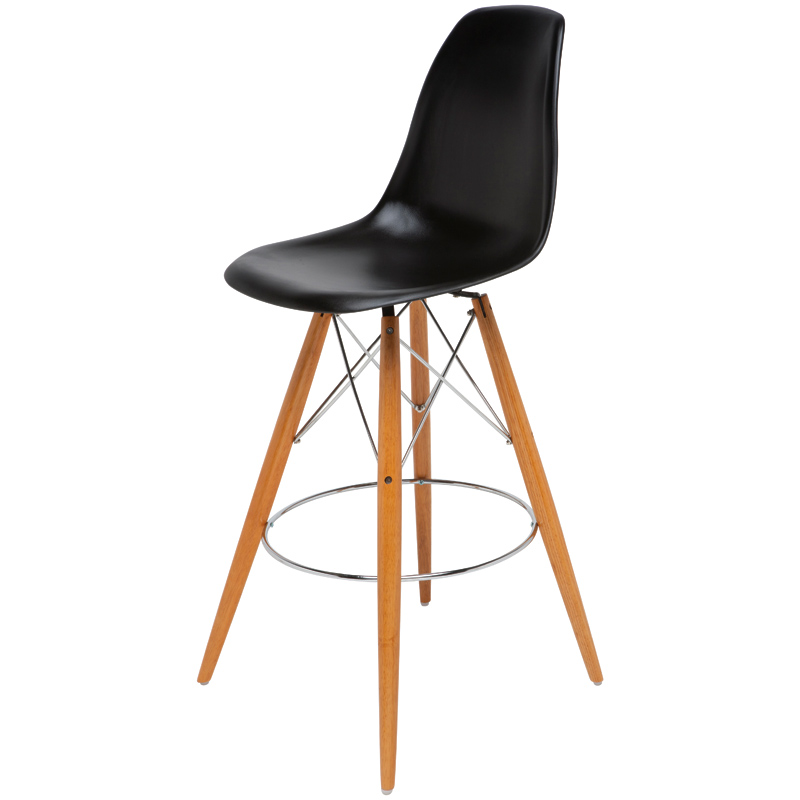 Marvelous Charlotte Bar Stool In Black Plastic W Solid Oak Legs By Nuevo Modern Furniture Spiritservingveterans Wood Chair Design Ideas Spiritservingveteransorg