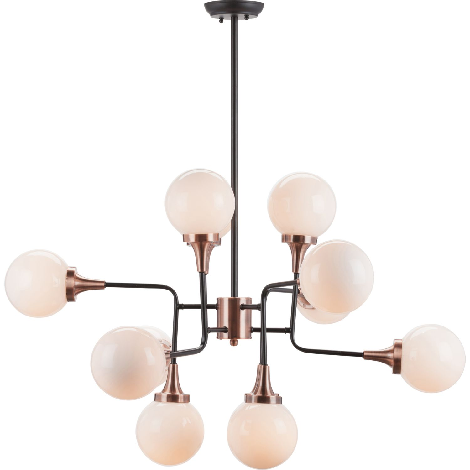 nuevo modern furniture hgra bella ceiling pendant light in  - bella ceiling pendant light in copper  black metal w opal glass