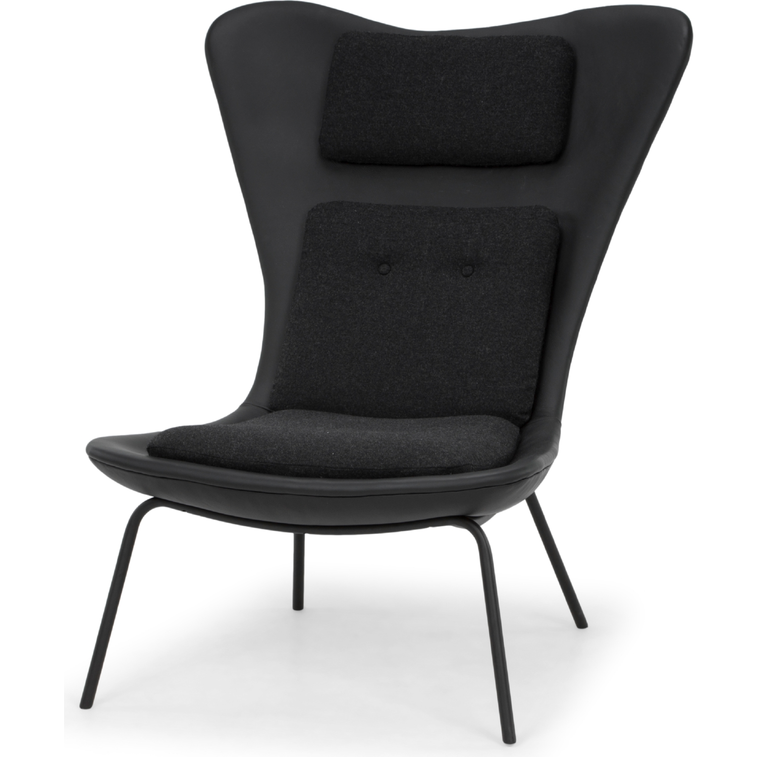 Fabulous Barlow Accent Chair In Fossil Black Leather Grey Fabric By Nuevo Modern Furniture Theyellowbook Wood Chair Design Ideas Theyellowbookinfo