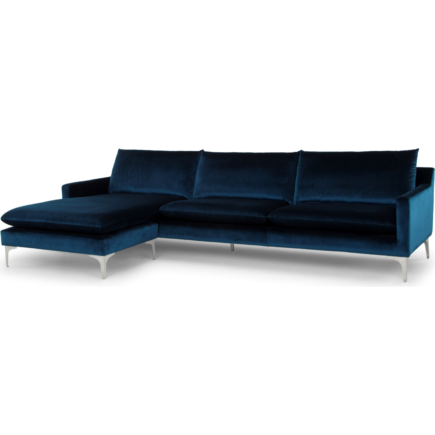 Anders Sectional Sofa w/ Left Chaise in Navy Blue Fabric on Brushed Stainless Legs  sc 1 st  Dynamic Home Decor : sectional sofa left chaise - Sectionals, Sofas & Couches