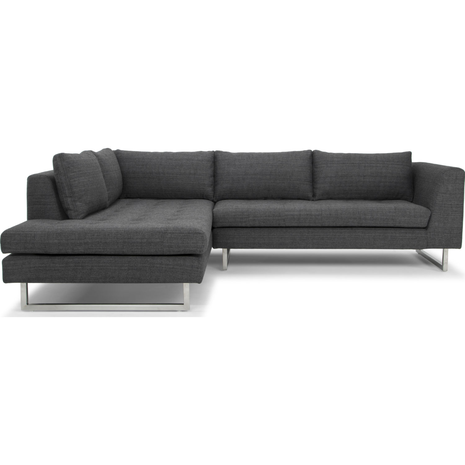 Incredible Janis Sectional Sofa W Left Hand Chaise In Dark Grey Tweed Fabric By Nuevo Modern Furniture Gamerscity Chair Design For Home Gamerscityorg
