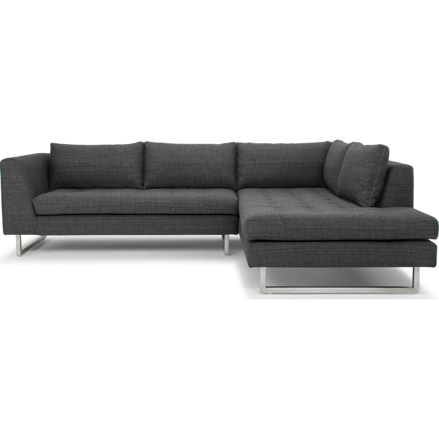 Sensational Janis Sectional Sofa W Right Hand Chaise In Dark Grey Tweed Fabric By Nuevo Modern Furniture Download Free Architecture Designs Scobabritishbridgeorg