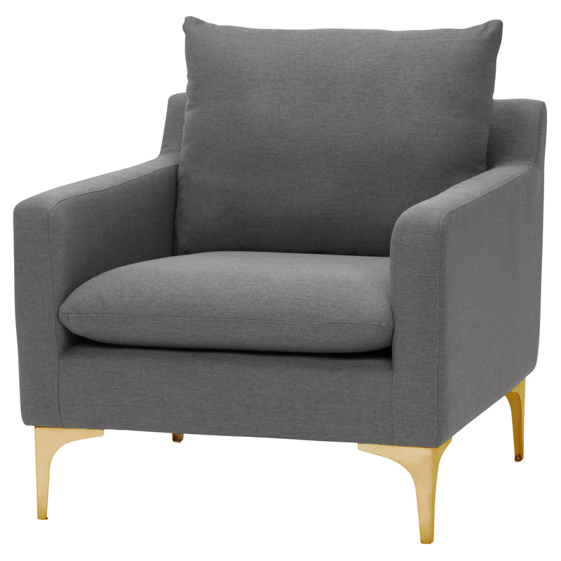 Miraculous Anders Accent Chair In Grey Fabric On Brushed Gold Stainless By Nuevo Modern Furniture Uwap Interior Chair Design Uwaporg