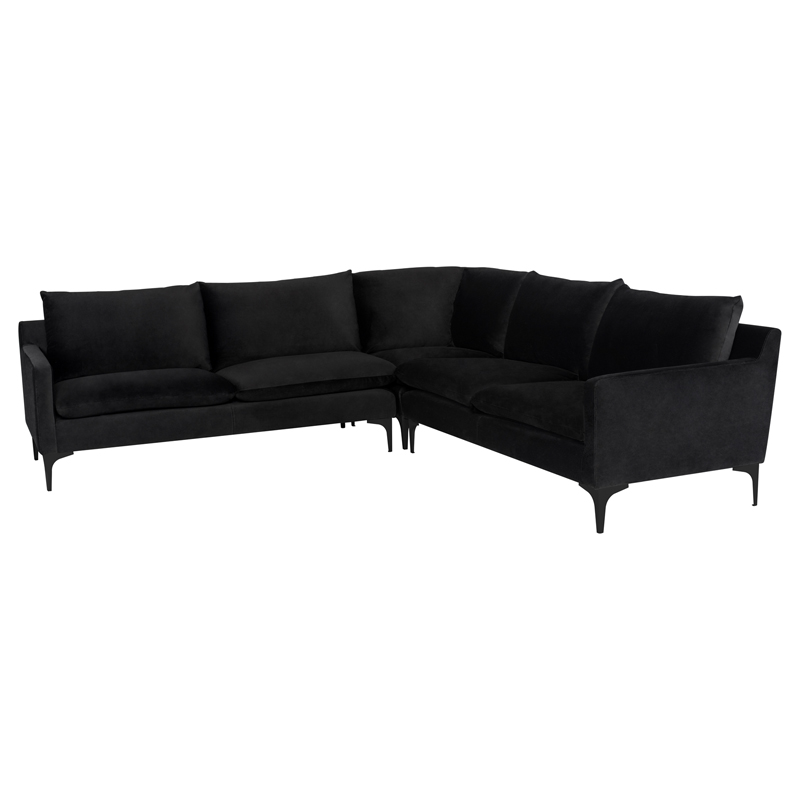 Anders Sectional Sofa in Black Fabric on Black Steel by Nuevo Modern  Furniture