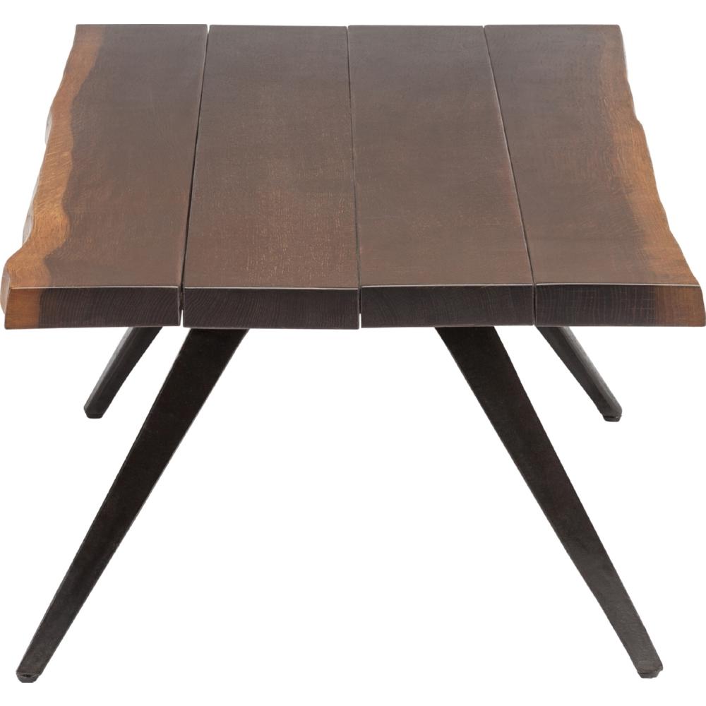 Vega Coffee Table W/ Seared Oak Top On Cast Iron Splayed Legs