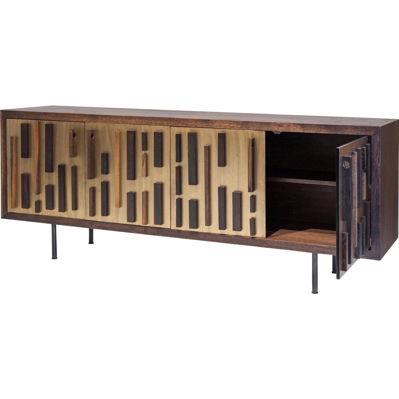 Blok 79 Media Unit Buffet In Seared Oak Bronze Cast Iron By Nuevo Modern Furniture