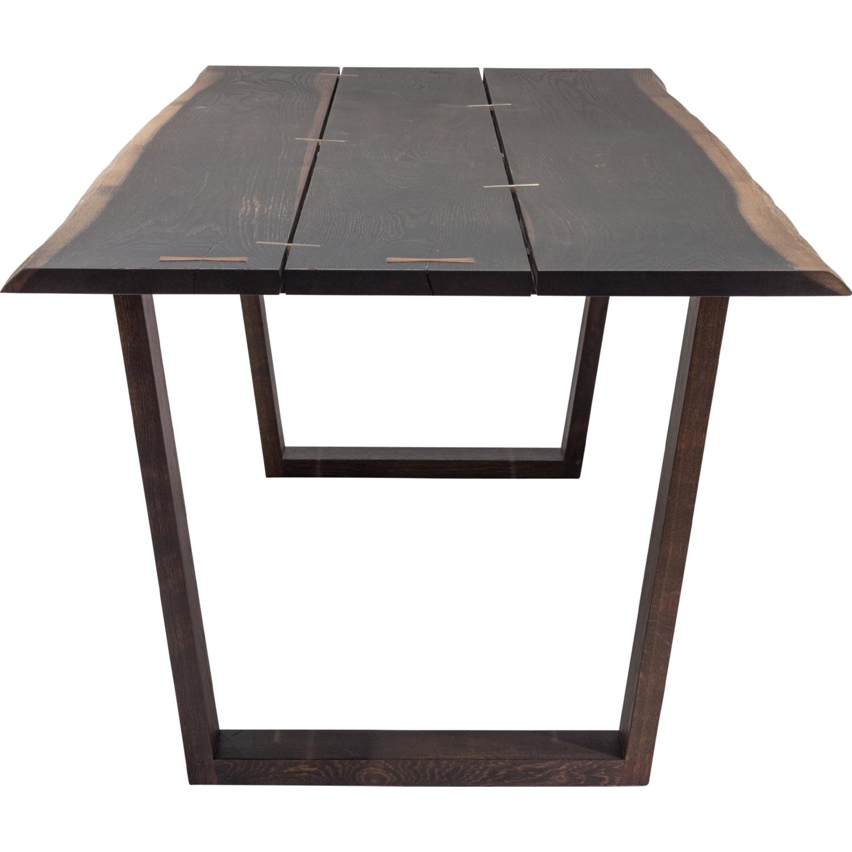 nuevo modern furniture hgsr napa  dining table in seared oak  - nuevo modern furniture napa  dining table in seared oak w brass detail