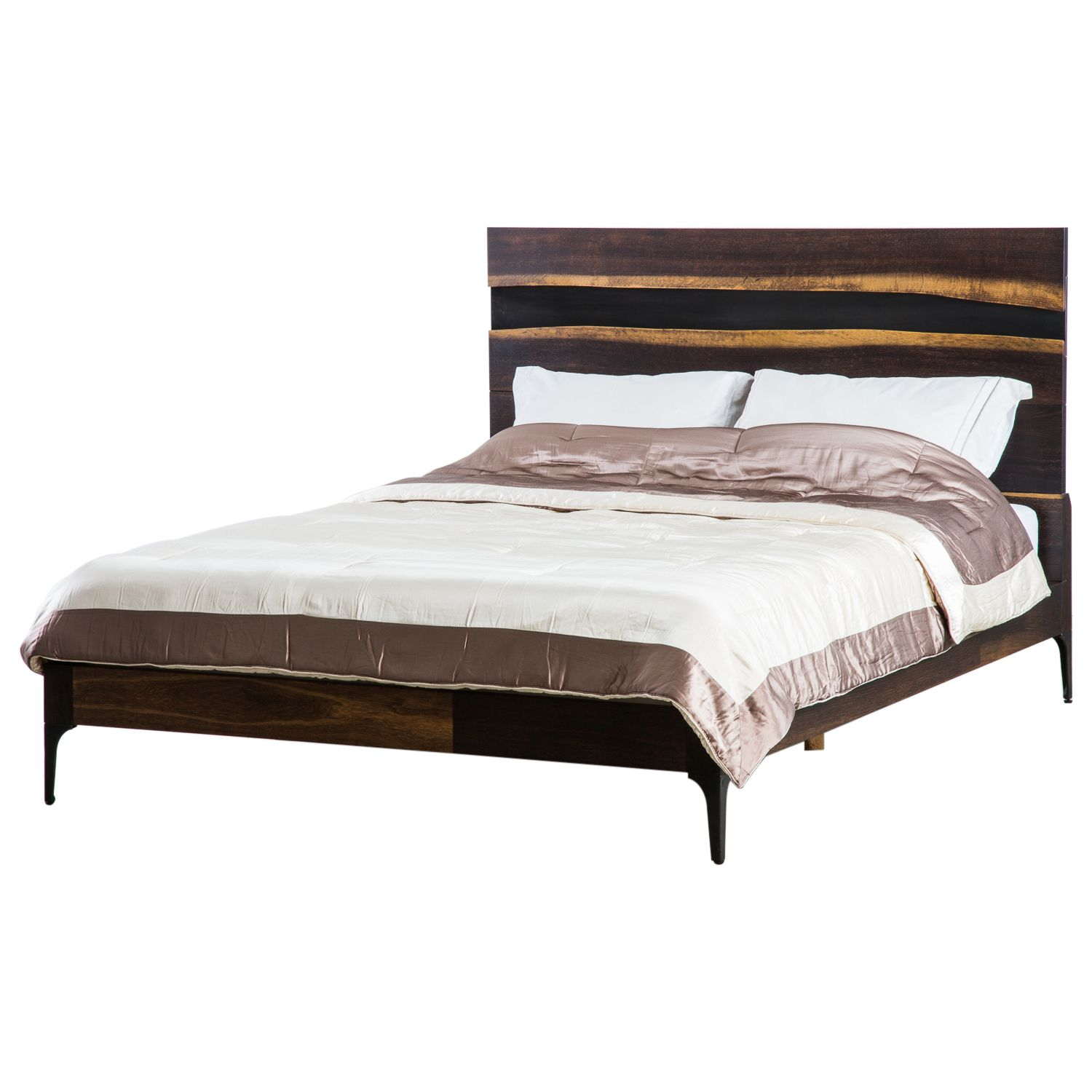 Great Prana King Bed In Seared Oak U0026 Black Cast Iron