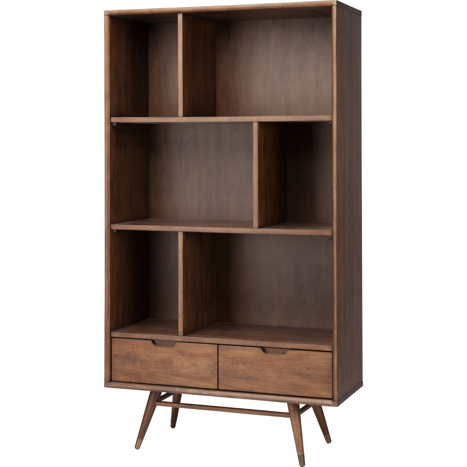 Baas Small Bookcase In Walnut W 6 Open Areas 2 Drawers By Nuevo Modern Furniture