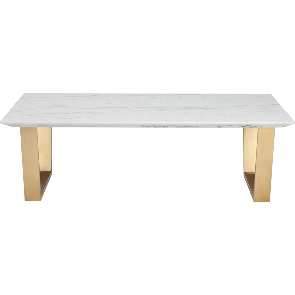 Nuevo Hgsx140 Catrine Coffee Table W White Marble Top On Brushed