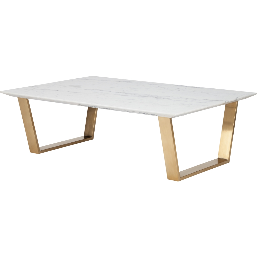 Nuevo Modern Furniture Hgsx140 Catrine Coffee Table W White Marble Top On Brushed Gold
