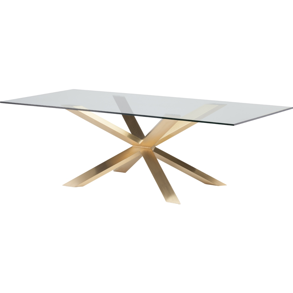 Nuevo Modern Furniture Couture 95 Dining Table W Glass Top On Brushed Gold Steel Geometric X Base