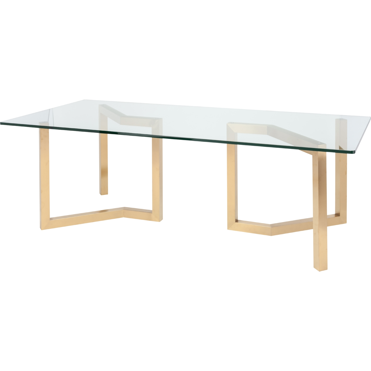 Nuevo Modern Furniture HGSX172 Paula 94 Dining Table W Brushed Gold Geometric Legs Glass Top