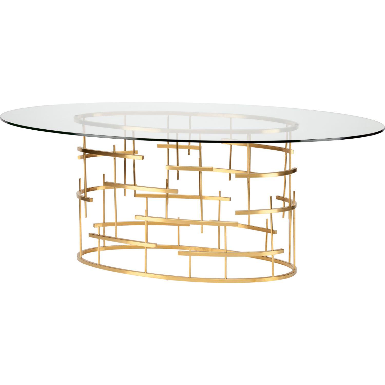 nuevo modern furniture hgsx220 tiffany oval 77 dining table w