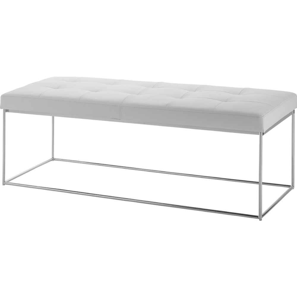 stainless steel modern furniture. caen bench w white tufted seat on stainless steel base modern furniture