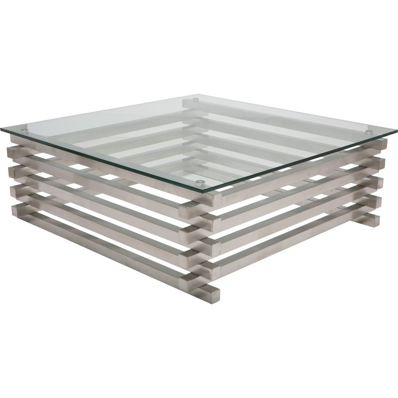 Nuevo Modern Furniture Stacked Coffee Table In Brushed Stainless Steel Glass