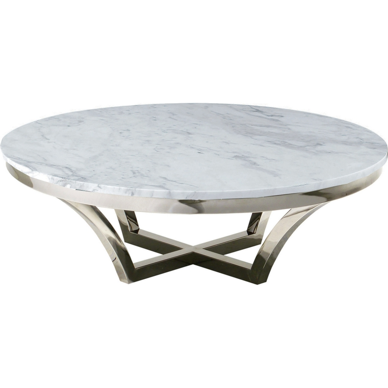 Nuevo Aurora Gold Coffee Table: Nuevo HGTB168 Aurora Coffee Table W/ Polished Stainless
