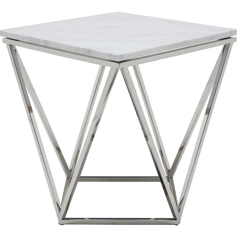 Nuevo Hgtb265 Jasmine Coffee Table W White Marble On Geometric Gold Brushed Stainless Base