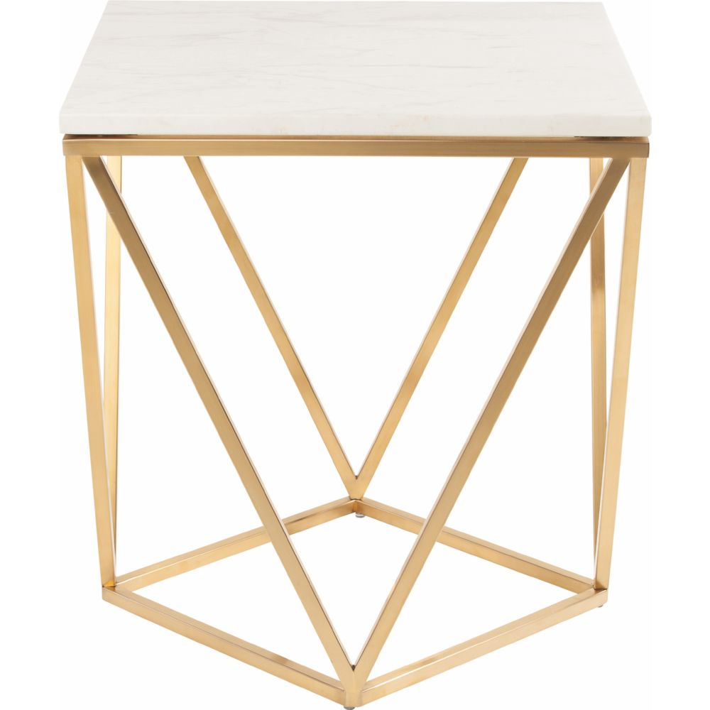 nuevo modern furniture jasmine side table w white marble on geometric gold brushed stainless base