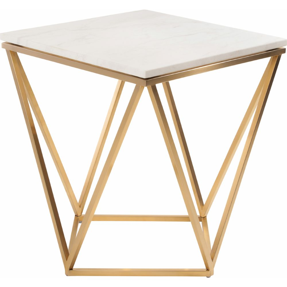 Jasmine Side Table W White Marble On Geometric Gold Brushed Stainless Base By Nuevo Modern Furniture