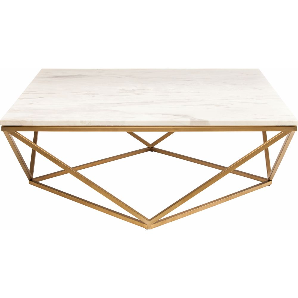 Jasmine Coffee Table W White Marble On Geometric Gold Brushed Stainless Base By Nuevo Modern Furniture
