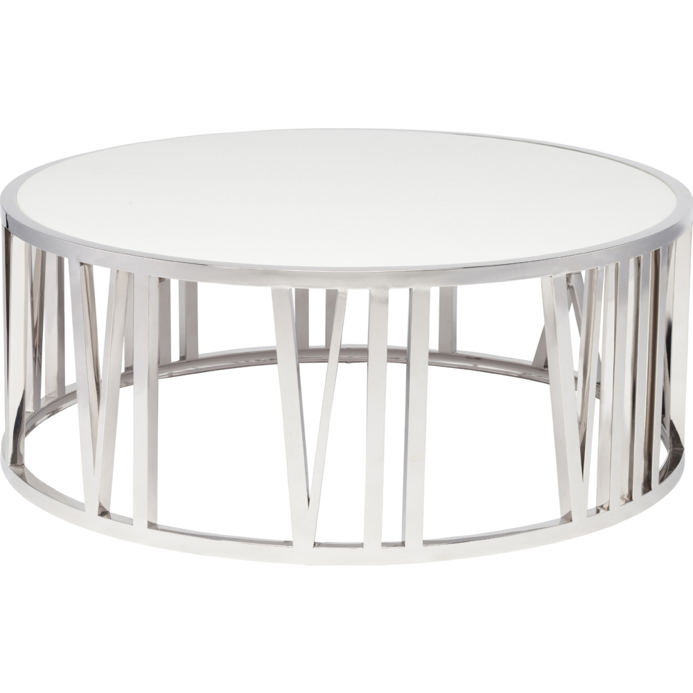 Nuevo Modern Furniture Hgtb309 Roman Coffee Table In Polished Stainless Numeral Base White Marble Top