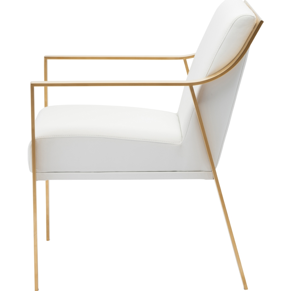 valentine dining chair in white naugahyde w brushed gold arms u0026 frame