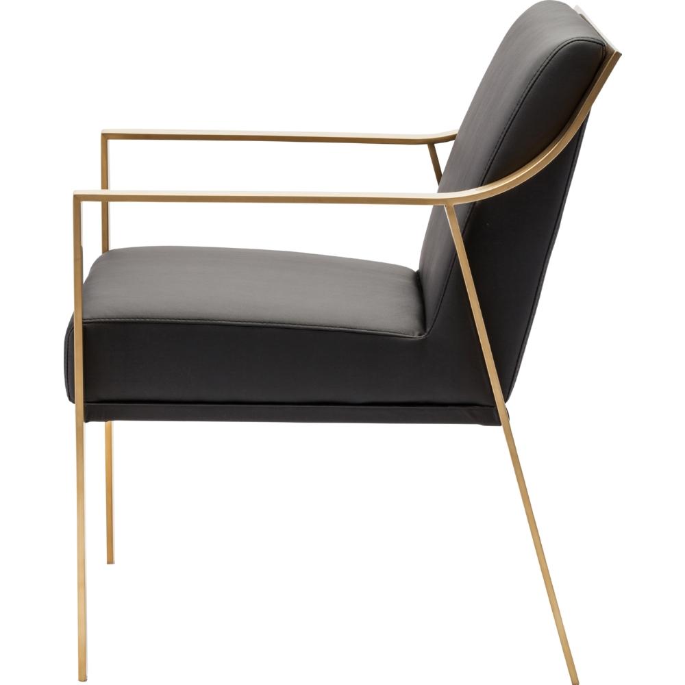 Nuevo Modern Furniture Valentine Dining Chair In Black Naugahyde W/ Brushed  Gold Arms U0026 Frame