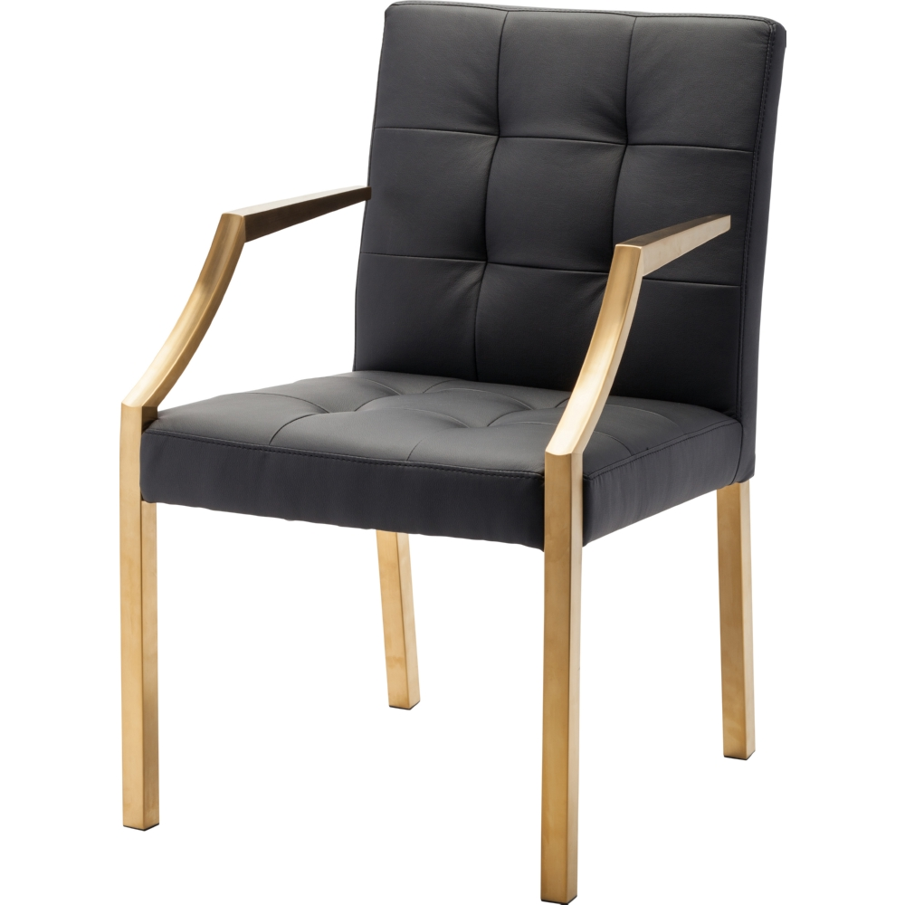 Dining arm chairs black - Nuevo Modern Furniture Paris Dining Chair W Black Tufted Seating Gold Arms