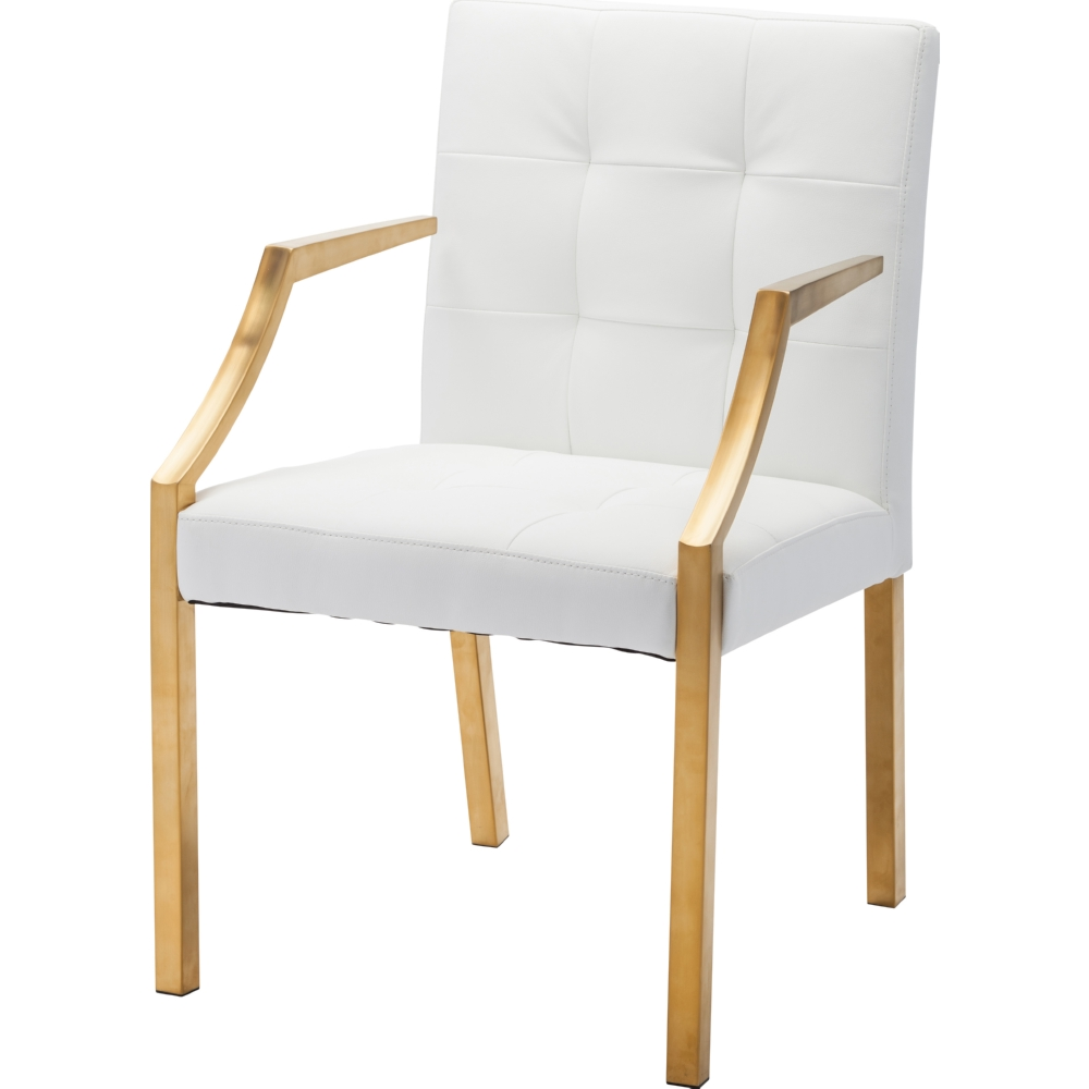 paris dining chair w white tufted seating u0026 gold arms