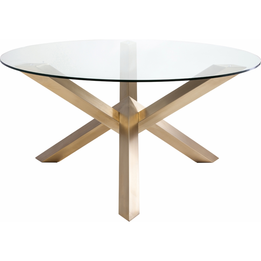 nuevo modern furniture hgtb costa  round dining table w  - nuevo modern furniture costa  round dining table w geometric brushedgold stainless base  glass top