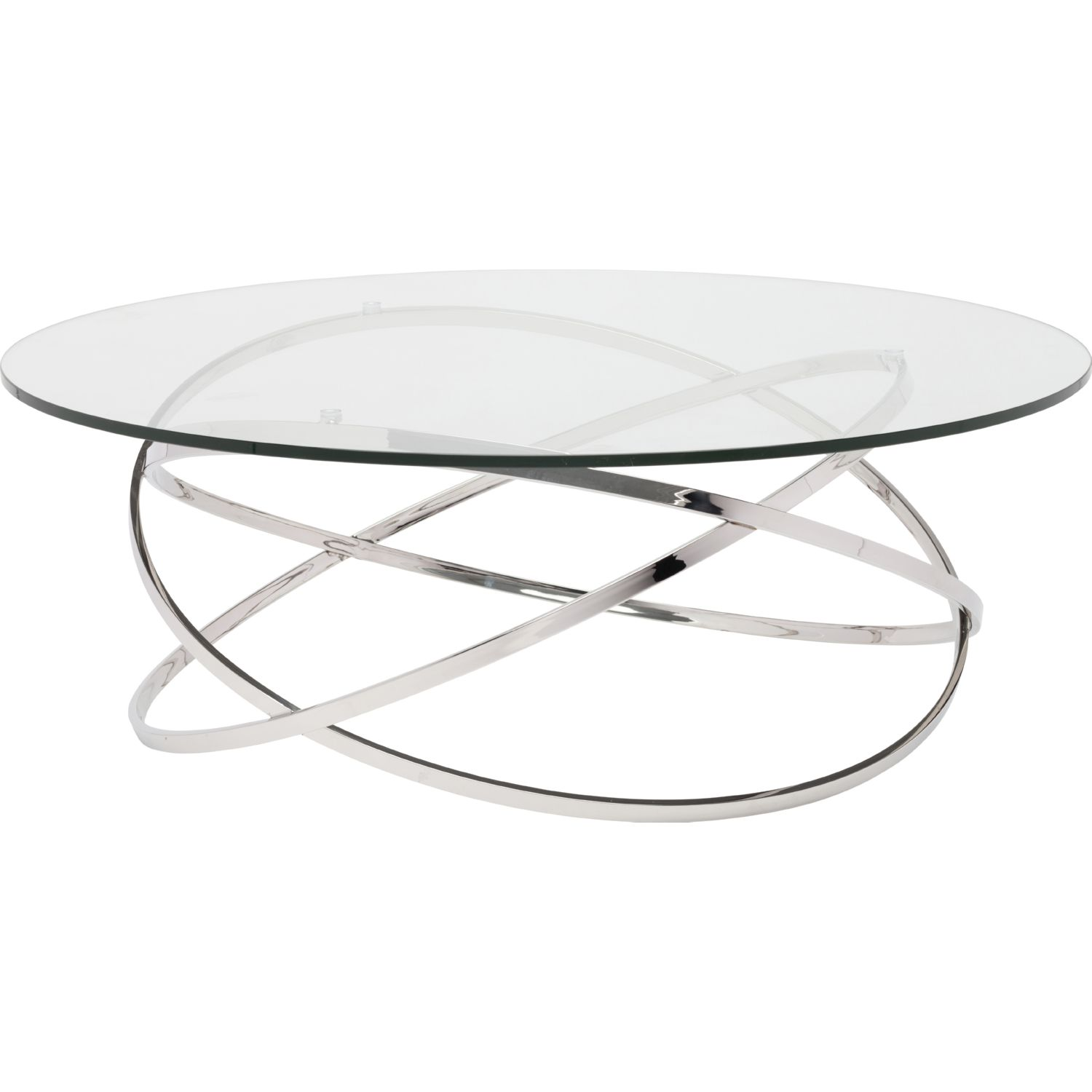 Nuevo Modern Furniture Hgtb405 Corel Coffee Table In Clear Glass On Stainless Steel Rings