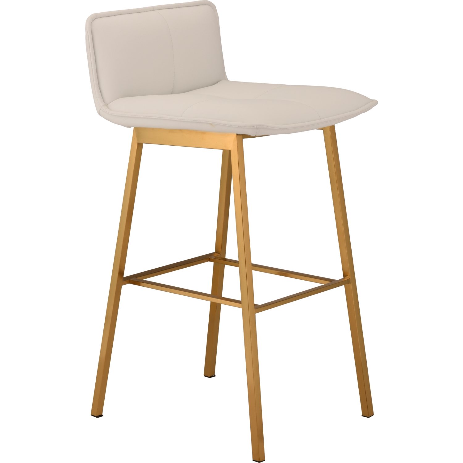 Sabrina counter stool in white naugahyde on brushed gold stainless base by nuevo modern furniture