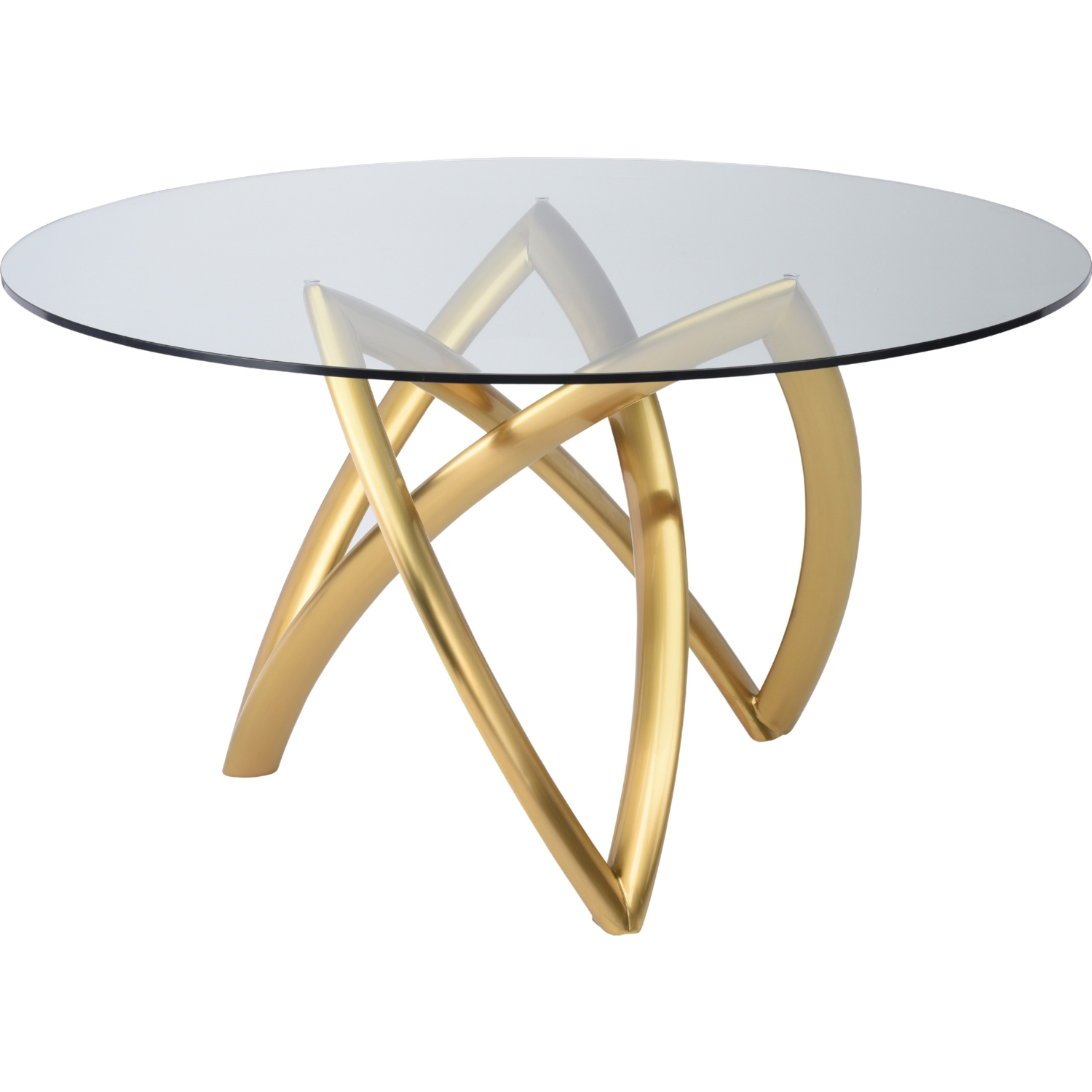 Nuevo Hgtb526 Martina 60 Quot Dining Table W Tempered Glass Top On Brushed Gold Base