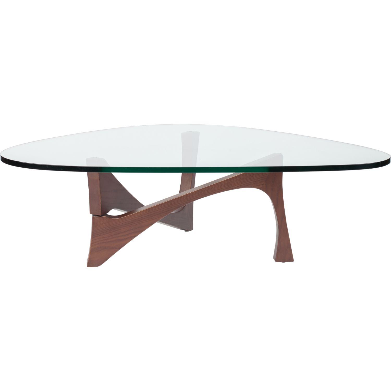 Nuevo Modern Furniture HGYU104 Akiro Coffee Table In Clear Glass On Walnut