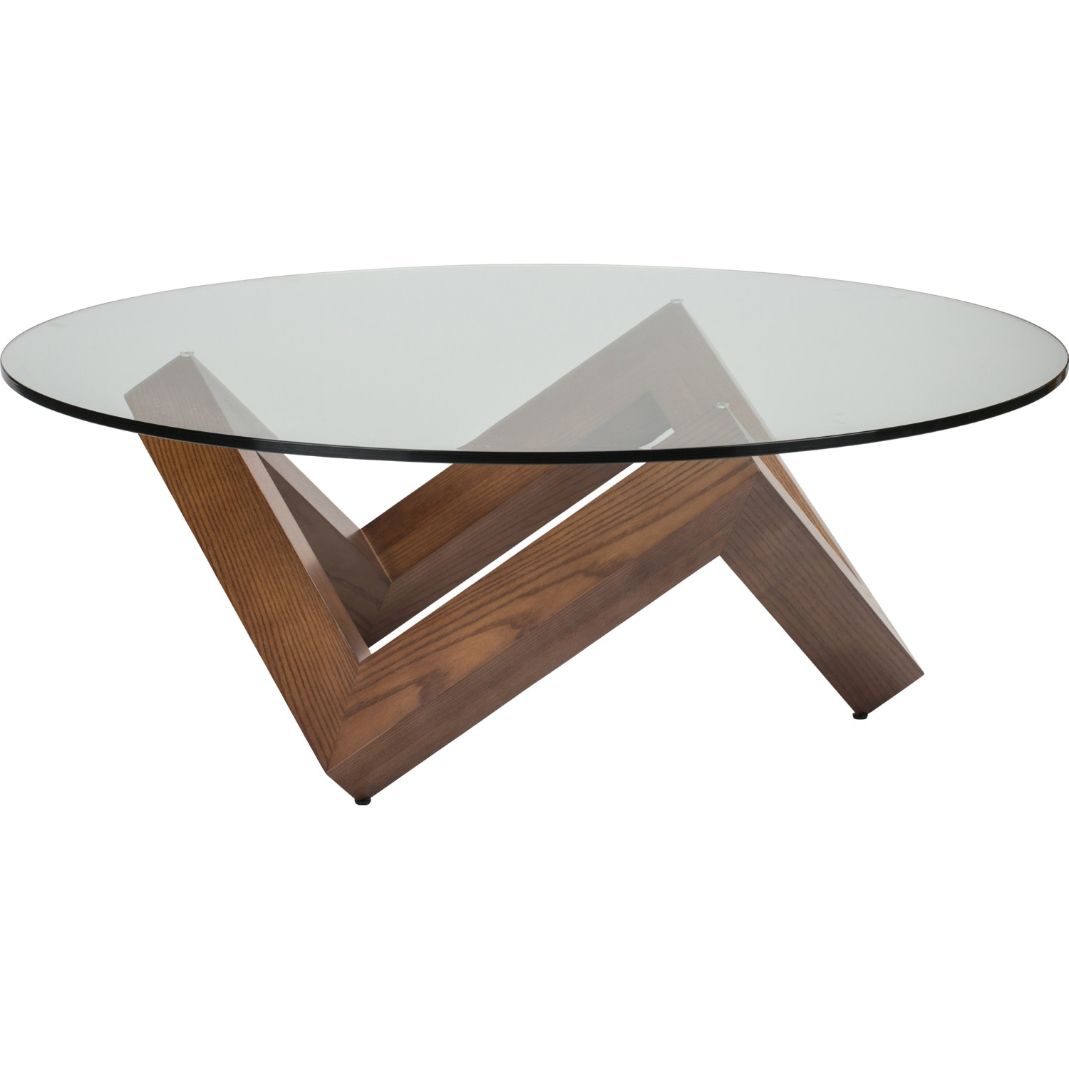 Astounding Como 41 Coffee Table W Round Clear Glass Top On Geometric Walnut Base By Nuevo Modern Furniture Andrewgaddart Wooden Chair Designs For Living Room Andrewgaddartcom