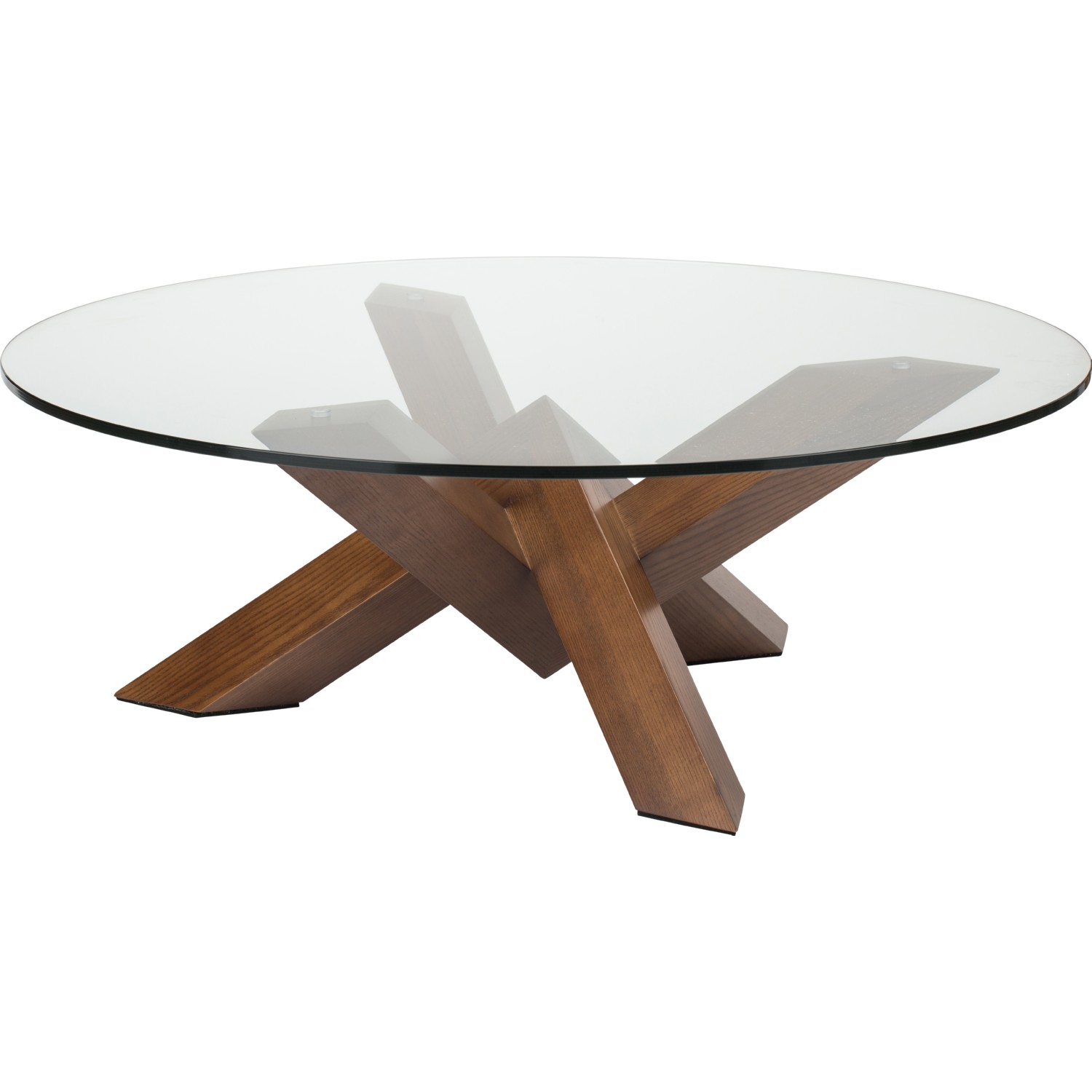 Strange Como 41 Coffee Table W Round Clear Glass Top On Geometric Stained Walnut Base By Nuevo Modern Furniture Andrewgaddart Wooden Chair Designs For Living Room Andrewgaddartcom