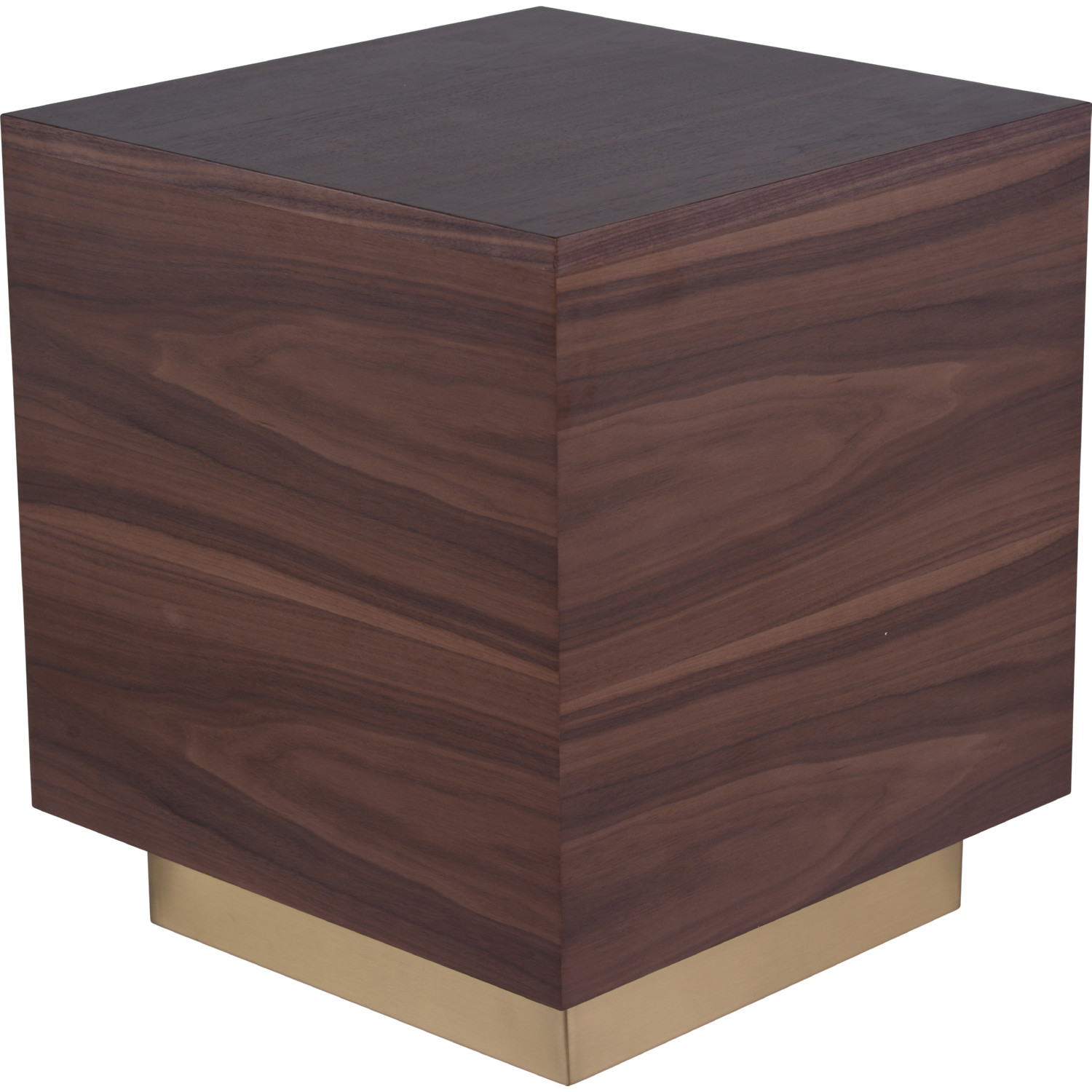 Ben Side Table In Walnut Wood Veneer On Brushed Gold Stainless By Nuevo Modern Furniture