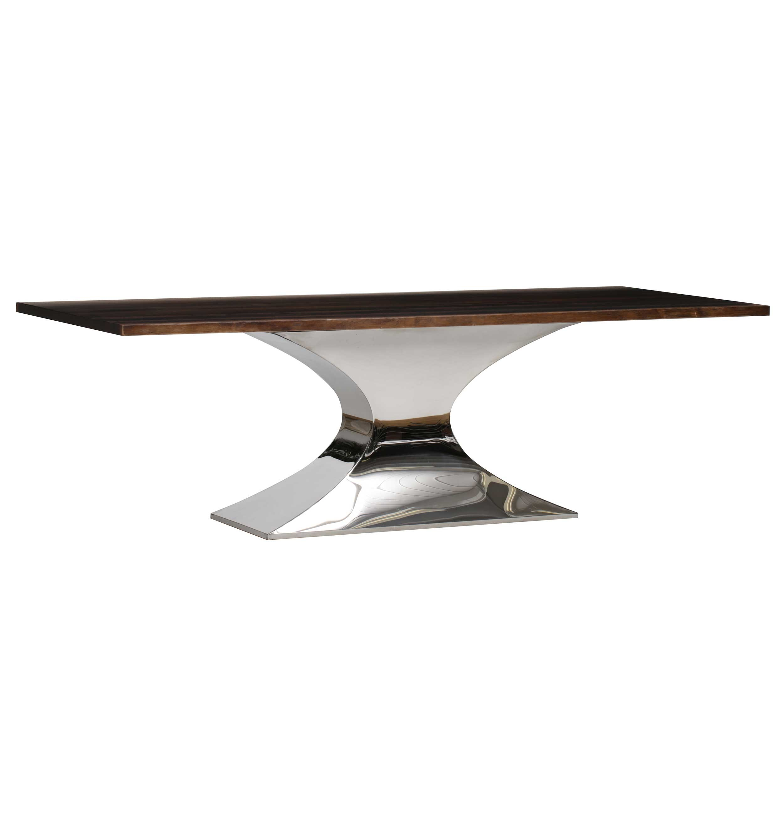 Nuevo modern furniture hgsx229 praetorian 112 dining table in seared oak on silver stainless steel base