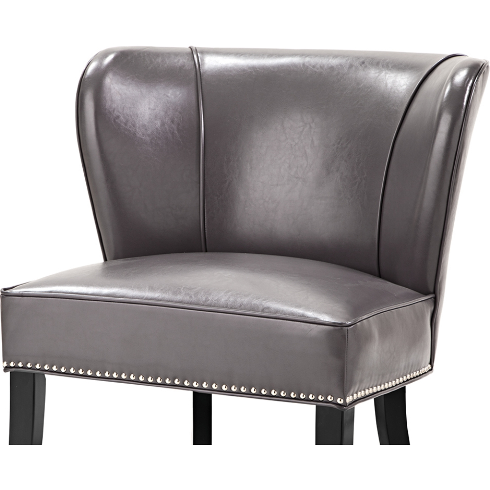 Tremendous Hilton Accent Chair In Gray Leatherette W Nailhead On Black Legs By Madison Park Inzonedesignstudio Interior Chair Design Inzonedesignstudiocom