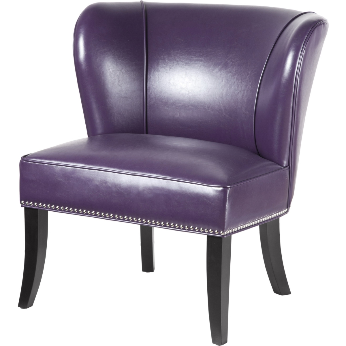Awe Inspiring Hilton Accent Chair In Purple Leatherette W Nailhead On Black Legs By Madison Park Inzonedesignstudio Interior Chair Design Inzonedesignstudiocom