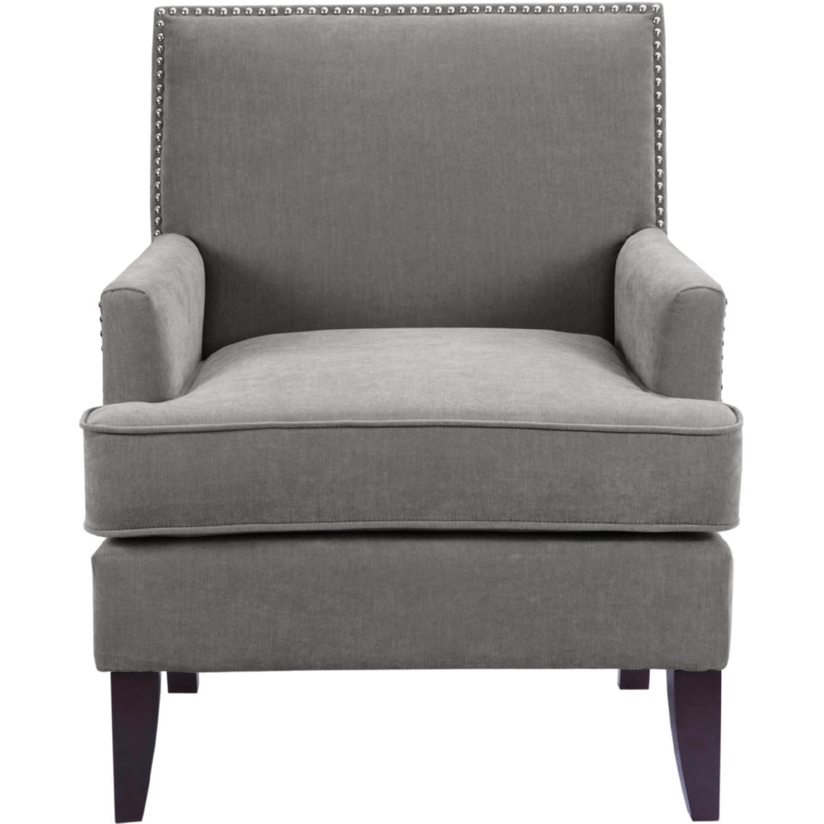 Genial Madison Park Colton Track Arm Club Chair In Gray Fabric W/ Nailhead On  Merlot Legs