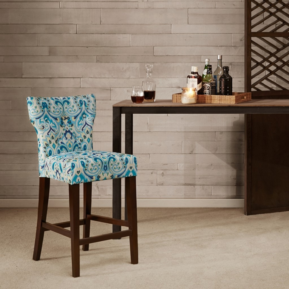 Prime Avila Tufted Back Counter Stool In Blue Yellow Print Fabric On Espresso Legs By Madison Park Ncnpc Chair Design For Home Ncnpcorg