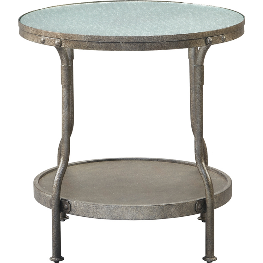Cambridge Round End Table In Hammered Antique Silver Metal Frosted Wire Gl By Ink Ivy
