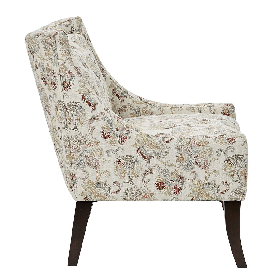 Sinclair Accent Chair In Earth Tone Floral Pattern Fabric